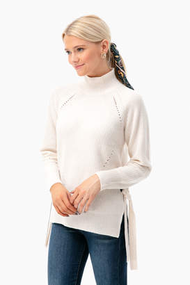 Rebecca Taylor Ribbed Turtleneck Tie Pullover