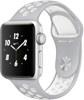 + Apple Watch Nike+ 38mm Silver-Tone Aluminum Case with Flat Silver-Tone/White Nike Sport Band $369 thestylecure.com