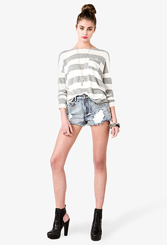 Forever 21 Dropped Shoulder Striped Top