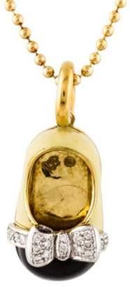 Aaron Basha 18K Diamond and Enamel Shoe Charm Necklace yellow Aaron Basha 18K Diamond and Enamel Shoe Charm Necklace