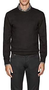 Luciano Barbera Men's Zigzag-Stitch Wool-Blend Sweater - Brown