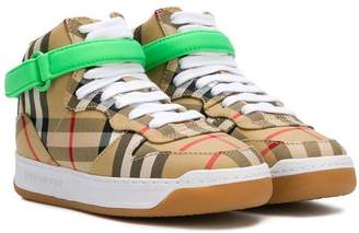 Burberry checked high top sneakers