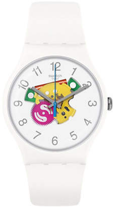 Swatch Colour Studio Collection White Silicone Strap Watch