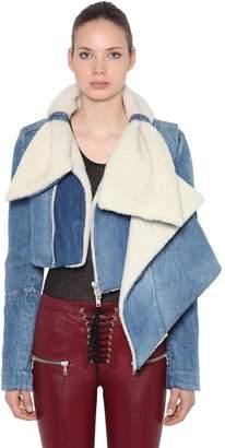 Unravel Shearling & Denim Cropped Jacket