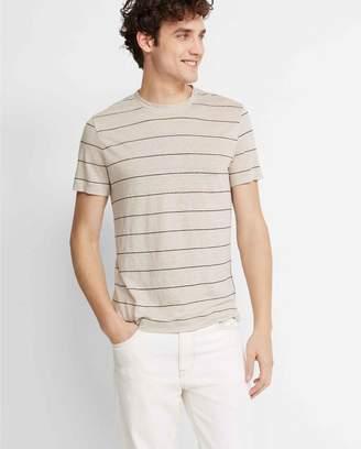 Club Monaco Short-Sleeve Stripe Linen Crew