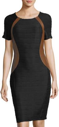 NUE by Shani Ottoman Knit Dress w/ Faux-Leather Panels