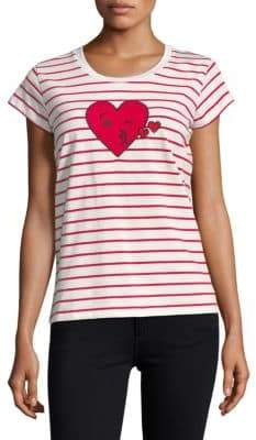 French Connection Striped Heart Tee