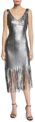 Nanette Lepore Funkytown Sequin Mid-Length Slip Dress with Fringe