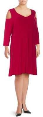 Plus Lace-Up Cold-Shoulder Shift Dress