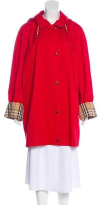 Burberry House Check-Lined Hooded Coat