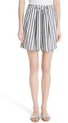 St. John Stripe Twill Linen Blend Shorts