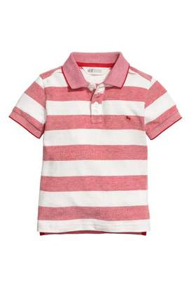 H&M Pique Polo Shirt - Red/white striped - Kids
