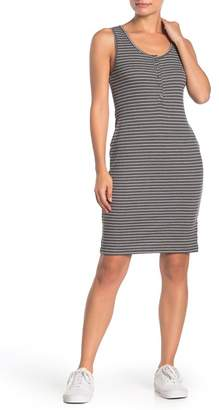 Susina Striped Sleeveless Rib Knit Henley Dress (Regular & Petite)
