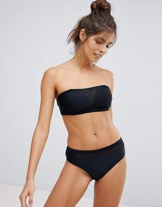 Vero Moda Black Bandeau Bikini Top With Mesh Insert
