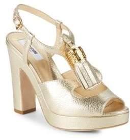 Moschino Metallic Leather Platform Sandals