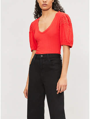 Free People Ladies Red St James Lace-Trimmed Cotton-Blend Top