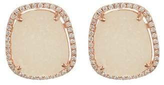 Meira T 14k Silver Rose Gold Diamond & Druzy Earrings
