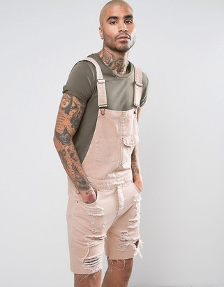 ASOS Short Denim Overalls In Pink With Mega Rips $67 thestylecure.com