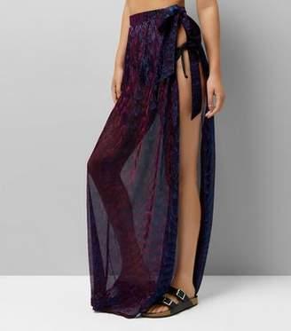 New Look Purple Iridescent Sarong Maxi Skirt