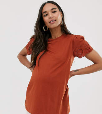 Asos DESIGN Maternity t-shirt with broderie sleeve in rust