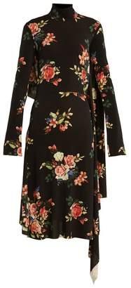Vetements Open Back Floral Print Crepe Cady Dress - Womens - Black Multi