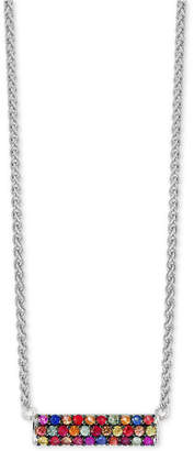 Effy Final Call by Multi-Sapphire Horizontal Bar Pendant Necklace (9/10 ct. t.w.) in Sterling Silver