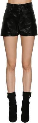 Saint Laurent Vinyl High Waist Shorts