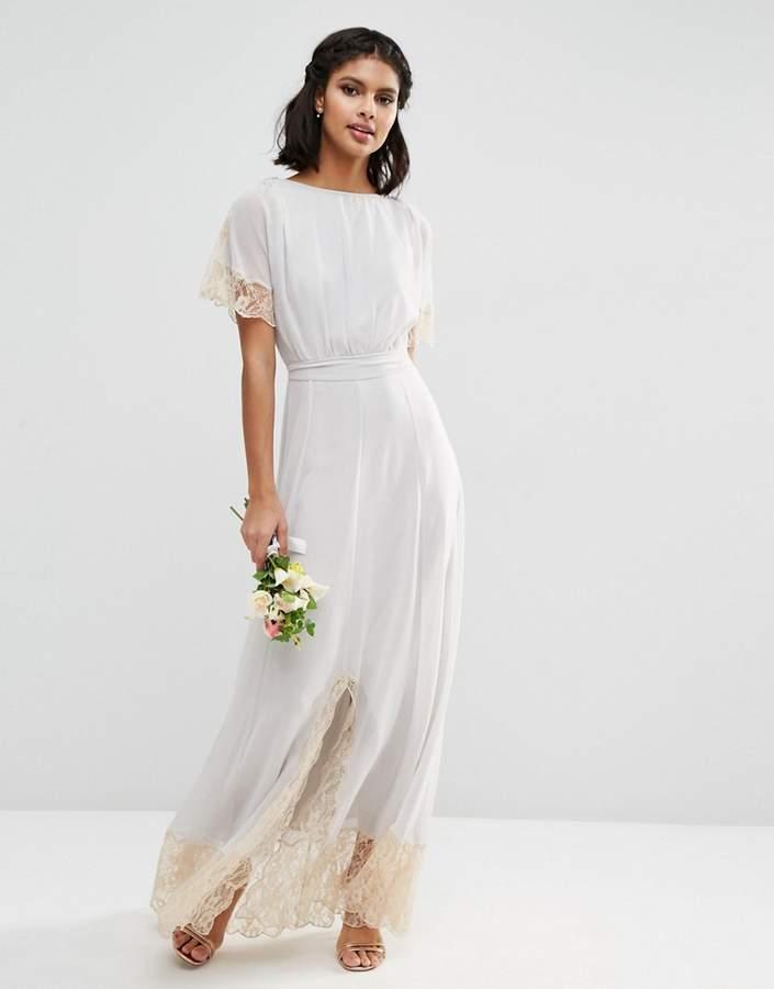 AsosASOS WEDDING Lace Trim Maxi Dress