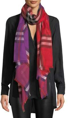 Burberry Colorblock Giant Check Gauze Scarf