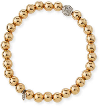 Sydney Evan 7mm Beaded Golden Ball Bracelet with Diamond Bead