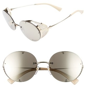 Women's Valentino 52Mm Round Sunglasses - Shiny Light Gold $460 thestylecure.com