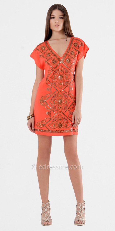 Size XS M Short Sleeve Beaded Day Dresses from Hale Bob