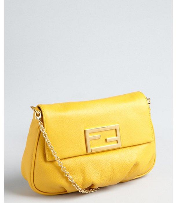 Fendi mustard leather 'Mini Mia' convertible pouchette