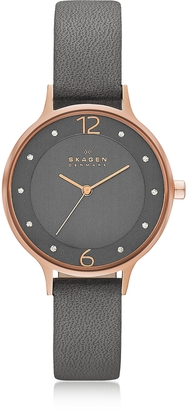 Skagen Anita Rose Goldtone Stainless Steel Women's Watch w/Gray Leather Band $138 thestylecure.com