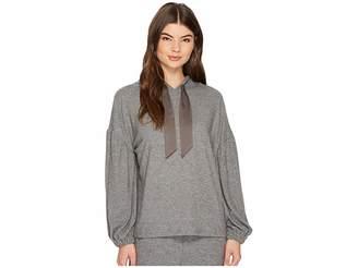 1 STATE 1.STATE Hooded Sweatshirt with Satin Ties Women's Sweatshirt