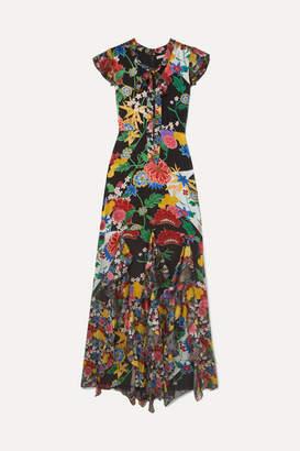 Alice + Olivia Alice Olivia - Laurette Ruffled Floral-print Satin Maxi Dress - Black