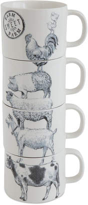 3r Studio Stacked Mugs with Farm Animals, Set of 4