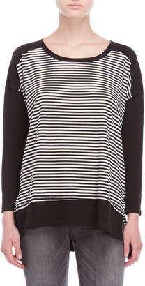 She + Sky Striped Hi-Low Boxy Long Sleeve Tee
