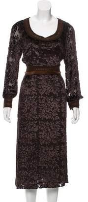 Andrew Gn Mink-Trimmed Devoré Dress