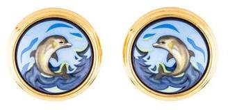 Hermes Dolphin Motif Enamel Earrings