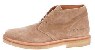 Common Projects Suede Round-Toe Chukka Boots tan Suede Round-Toe Chukka Boots