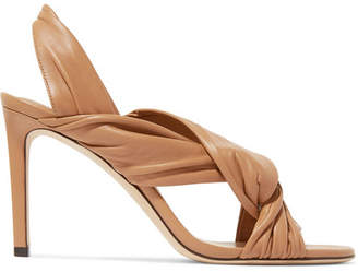 Jimmy Choo Leila 85 Knotted Leather Slingback Sandals - Tan