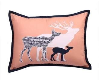 Bacati Tribal Deer Family Dec Pillow 12 x 16 inches with removable 100% Cotton cover and polyfilled pillow insert, Coral/Navy