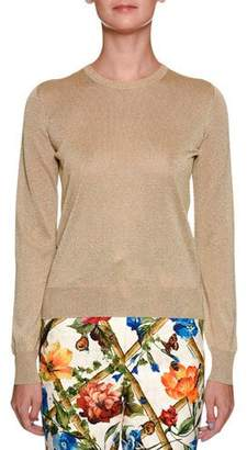 Dolce & Gabbana Metallic Crewneck Long-Sleeve Pullover Top
