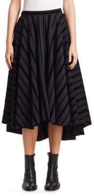 Nocturne 22 Flare Striped A-Line Midi Skirt