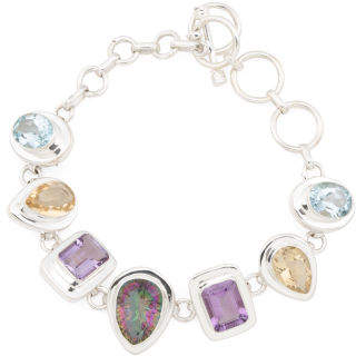 Made In India Sterling Silver Multi Gemstone Bracelet