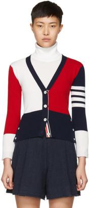 Thom Browne Tricolor Classic V-Neck Funmix Cardigan $1,790 thestylecure.com