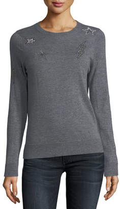 Zadig & Voltaire Miss Ter Crewneck Cashmere Sweater w/ Beaded Embellishment