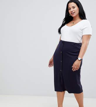 Asos Design Curve Ponte Button Front Pencil Skirt