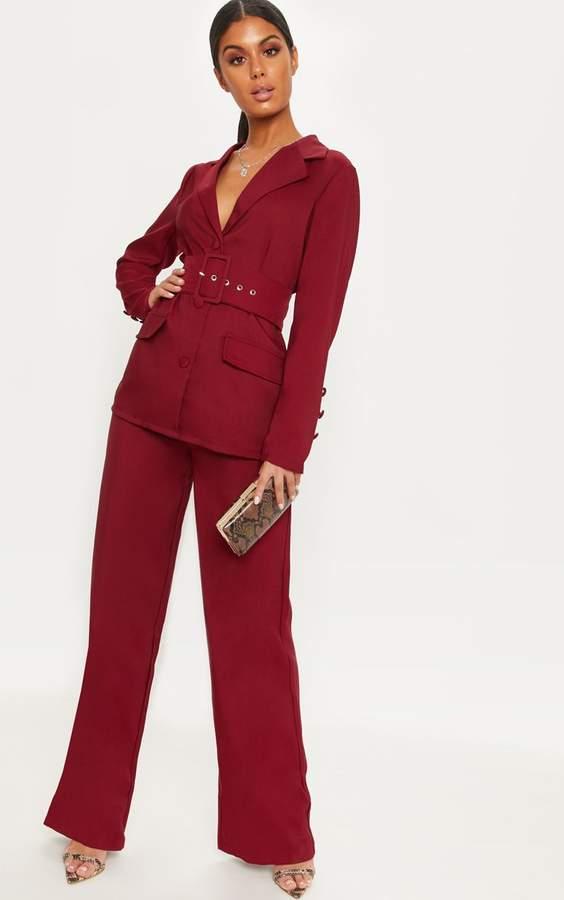 Burgundy Wide Leg Suit Trouser